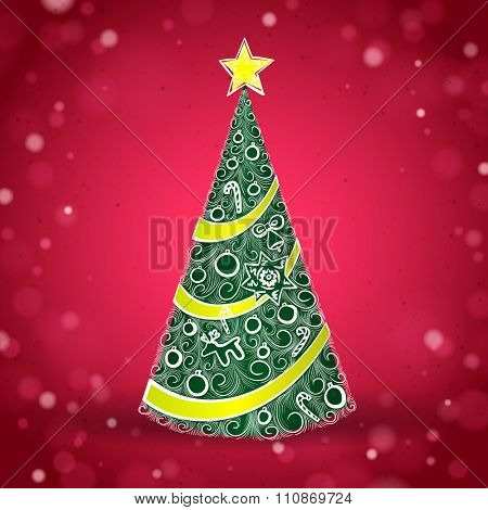 Green Christmas Tree on the Red Sparkling Background