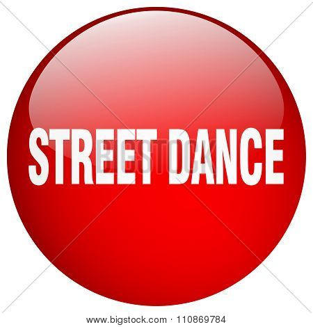 Street Dance Red Round Gel Isolated Push Button