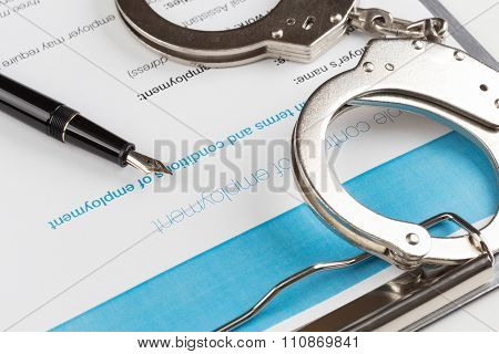 Employment Contract Chained Handcuffs