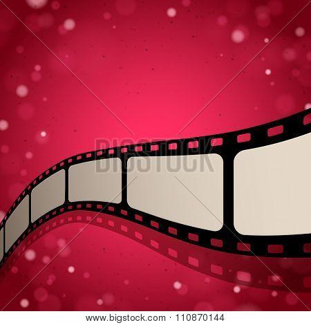 Photo film on red shine background