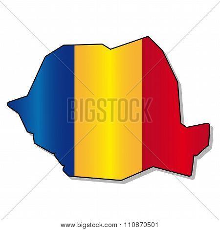 Romanian map flag