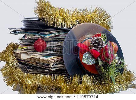 Christmas still life with a vinyl disc
