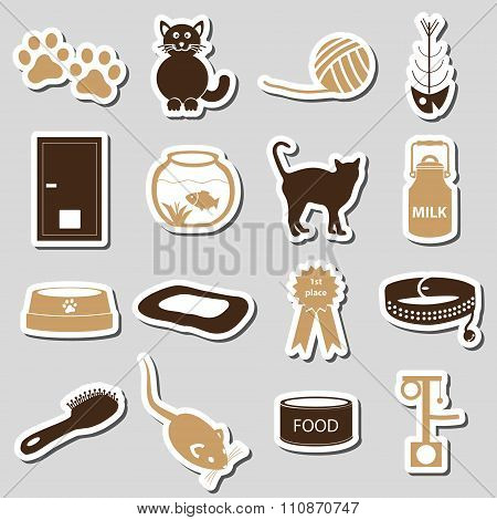Cats Pets Items Simple Stickers Set Eps10