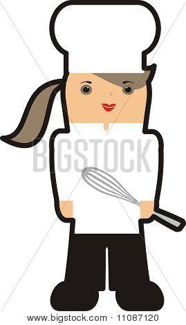 Outline girl female chef kitchen whisk