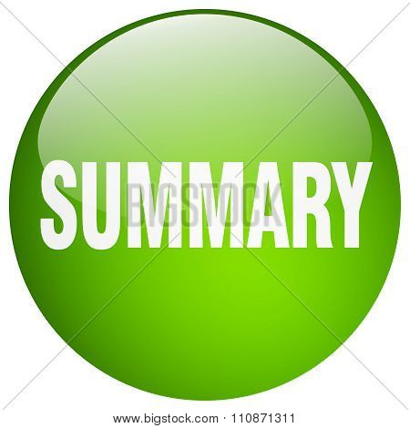 Summary Green Round Gel Isolated Push Button