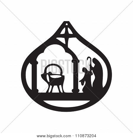Adoration Of The Magi Silhouette Icon Vector Illustration On Black Background