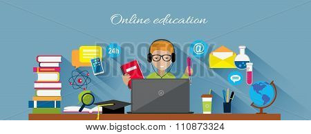 Online Education Flat Design Concept