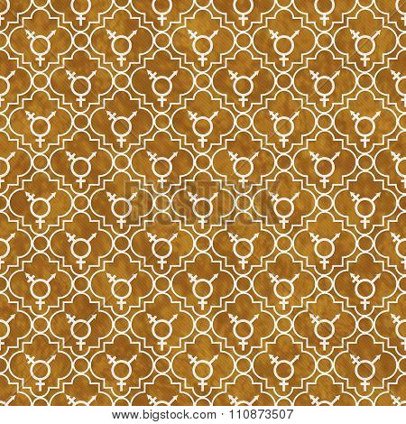 Orange And White Transgender Symbol Tile Pattern Repeat Background