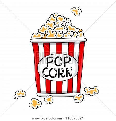 Buckets of popcorn in vector