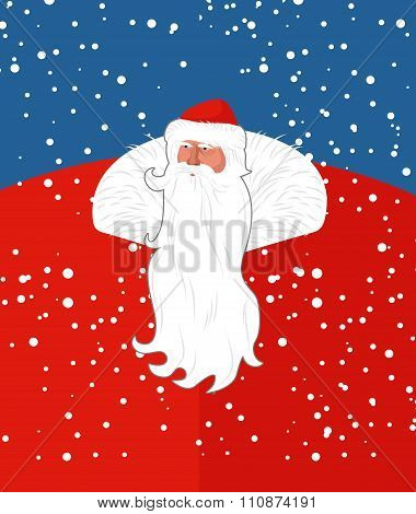 Russian Sana Claus. New Years Grandfather From Russia. Christmas Character With Long Beard. Postcard