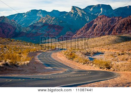 Road Through Desert and Mountains