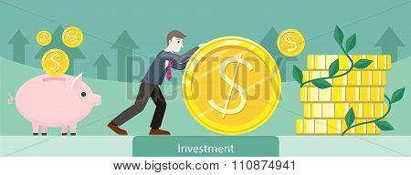 Investment Money Coin Gold Design