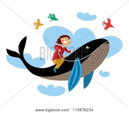 Drawing boy sitting on a whale