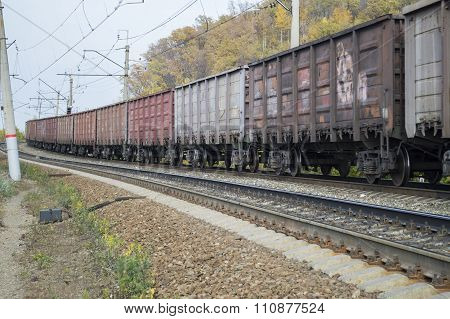 Freight Transport Cars On The Railroad In The Movement