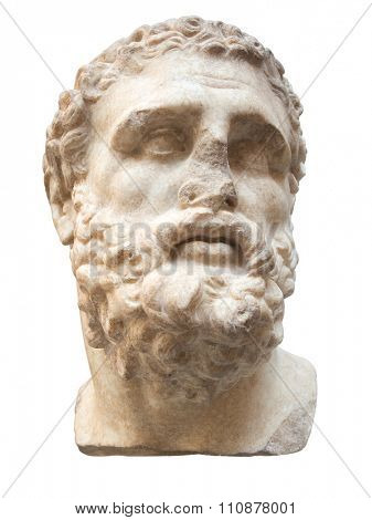 Ancient marble head of Hercules isolated on white with clipping path