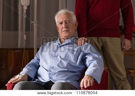 Elderly Man With Intavenous Drip