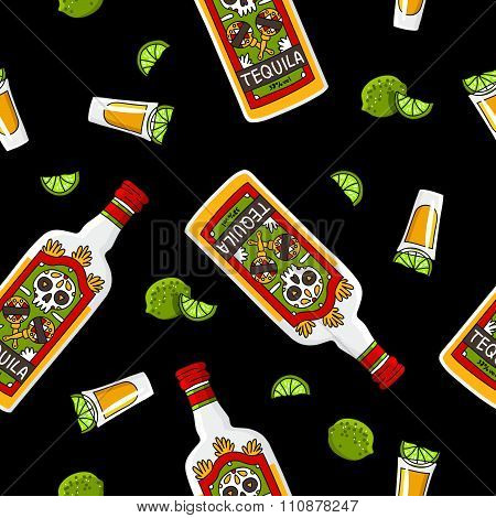 Seamless pattern of a bottle of tequila and lime