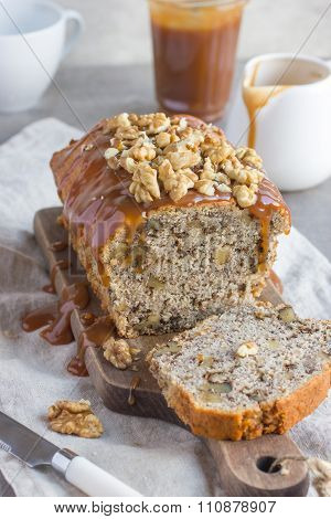 Banana Bread Cake With Walnuts And Salted Caramel