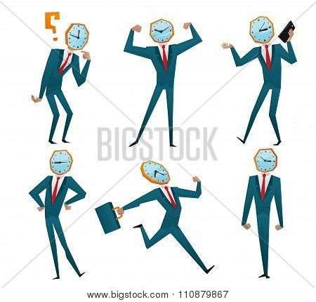 Businessman watch head vector illustration