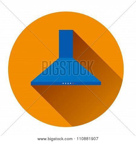 Icon Blue Kitchen Hood In An Orange Circle