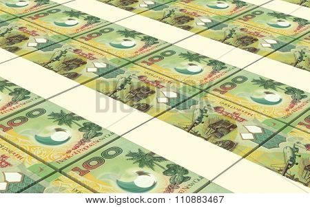 Papua New Guinean kina bills stacks background. Computer generated 3D photo rendering.