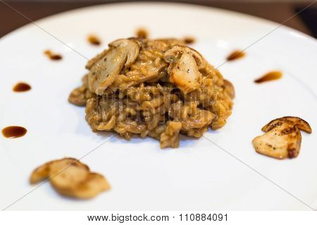 Risotto with cep mushrooms on the plate