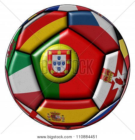 Soccer Ball With Flag Of Portugal In The Center