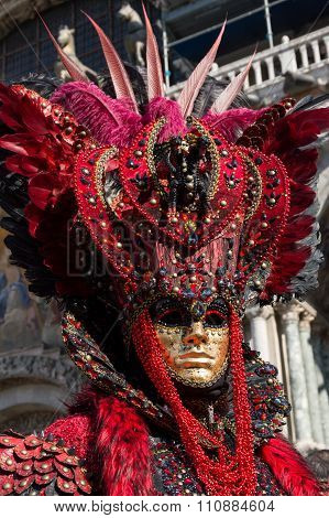 Red carnival costume in Venice