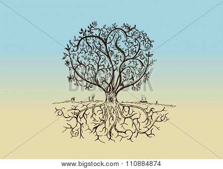 Hand drawn tree isolated sketch in vintage style. Vector illustration