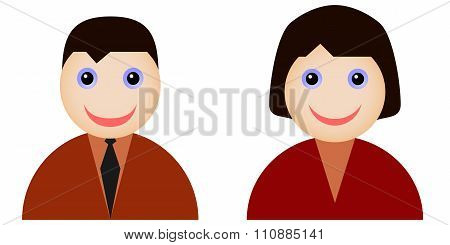 Flat icons of man and woman