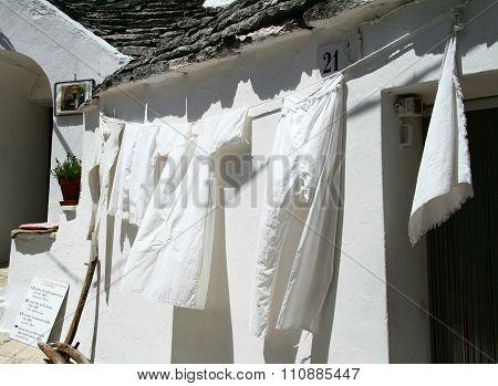 White clothing drying on washing line