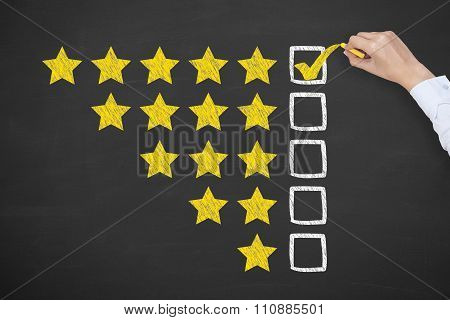 Rating Stars Concept Drawing on Blackboard