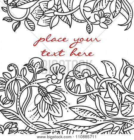 Vintage floral design elements. Template for menu, notebook cover or invitation and greetings card