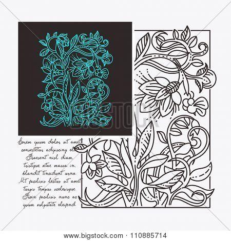 Vintage floral design elements. Template for art board, mood board