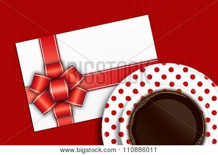Empty Blank With Bow And Coffee Lying On Tablecloth