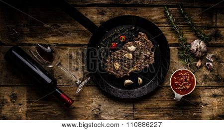 Rib Eye Steak With Wine