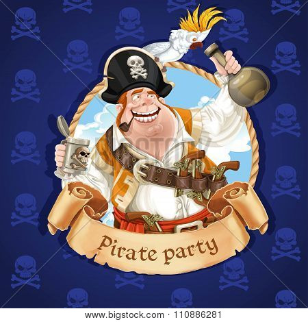 Drunken Pirate With Parrot Sitting On A Hat. Banner For Pirate P