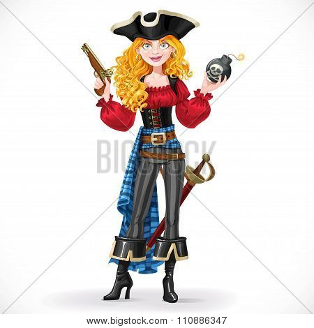 Brave Red-haired Pirate Girl Holding A Bomb With Lit Fuse Isolat