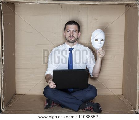 Hacker Keep Mask In His Hand