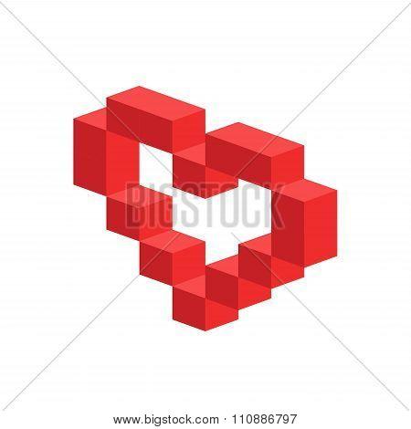 Heart vector 3d isometric icon