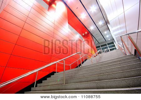 Long Stair In A Modern Building