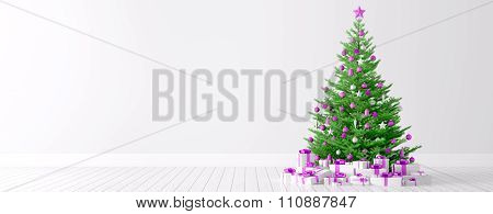 Interior Of A White Room With Christmas Tree Background 3D Render