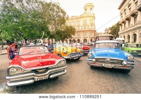 Havana, Cuba - November 17, 2015: Multicolored Vintage American Cars In Havana City