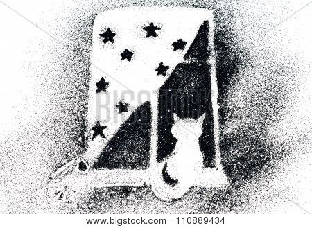 Silhouette of a cat on a window sill of black glitter sparkle on white background