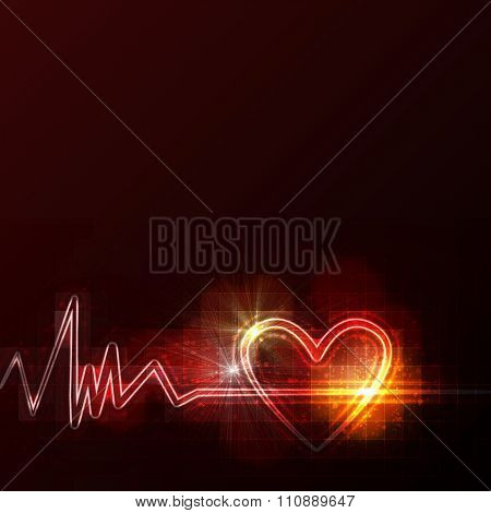 abstract heart monitor on a dark red background