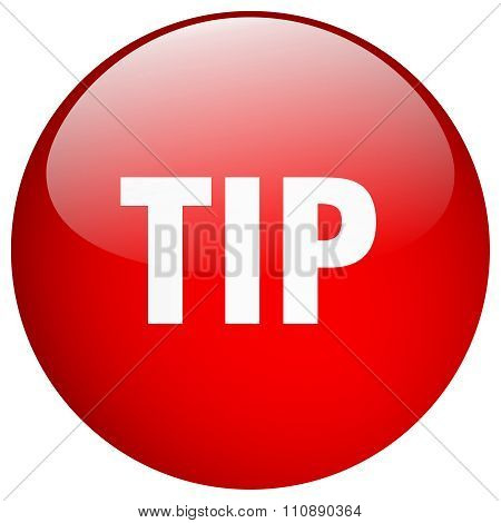 Tip Red Round Gel Isolated Push Button