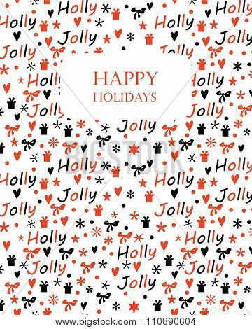 Christmas background with Holly Jolly lettering