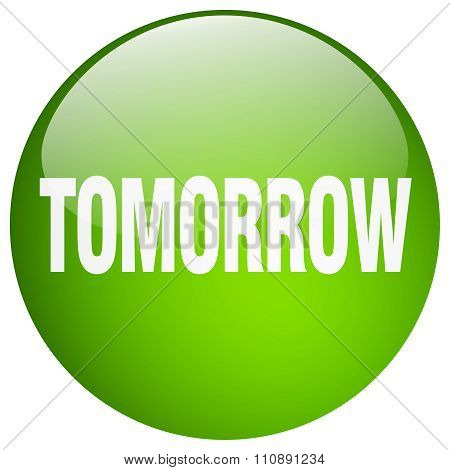 Tomorrow Green Round Gel Isolated Push Button