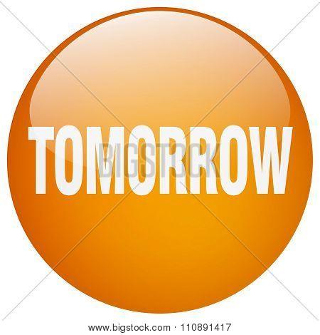 Tomorrow Orange Round Gel Isolated Push Button