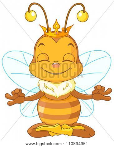 Cute Queen Bee sitting in the lotus position and meditates
